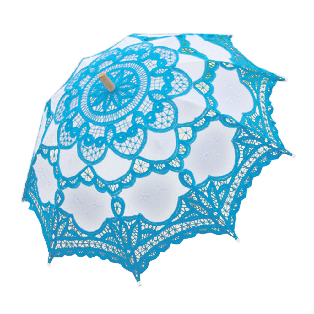 Handmade Cotton Craft Lace Macrame Children Umbrella Wedding Classical Photo   blue - Mega Save Wholesale & Retail