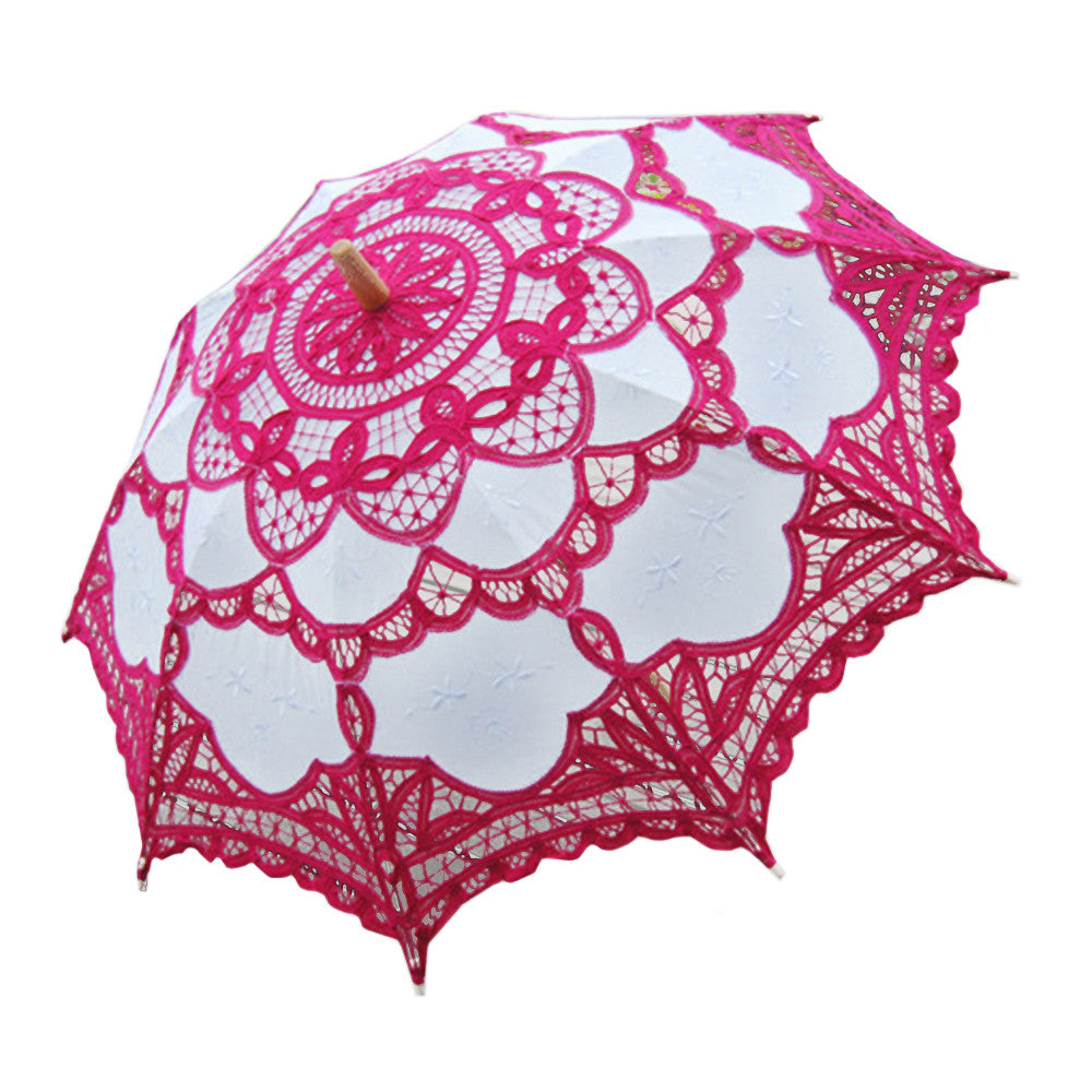 Handmade Cotton Craft Lace Macrame Children Umbrella Wedding Classical Photo   rose red - Mega Save Wholesale & Retail
