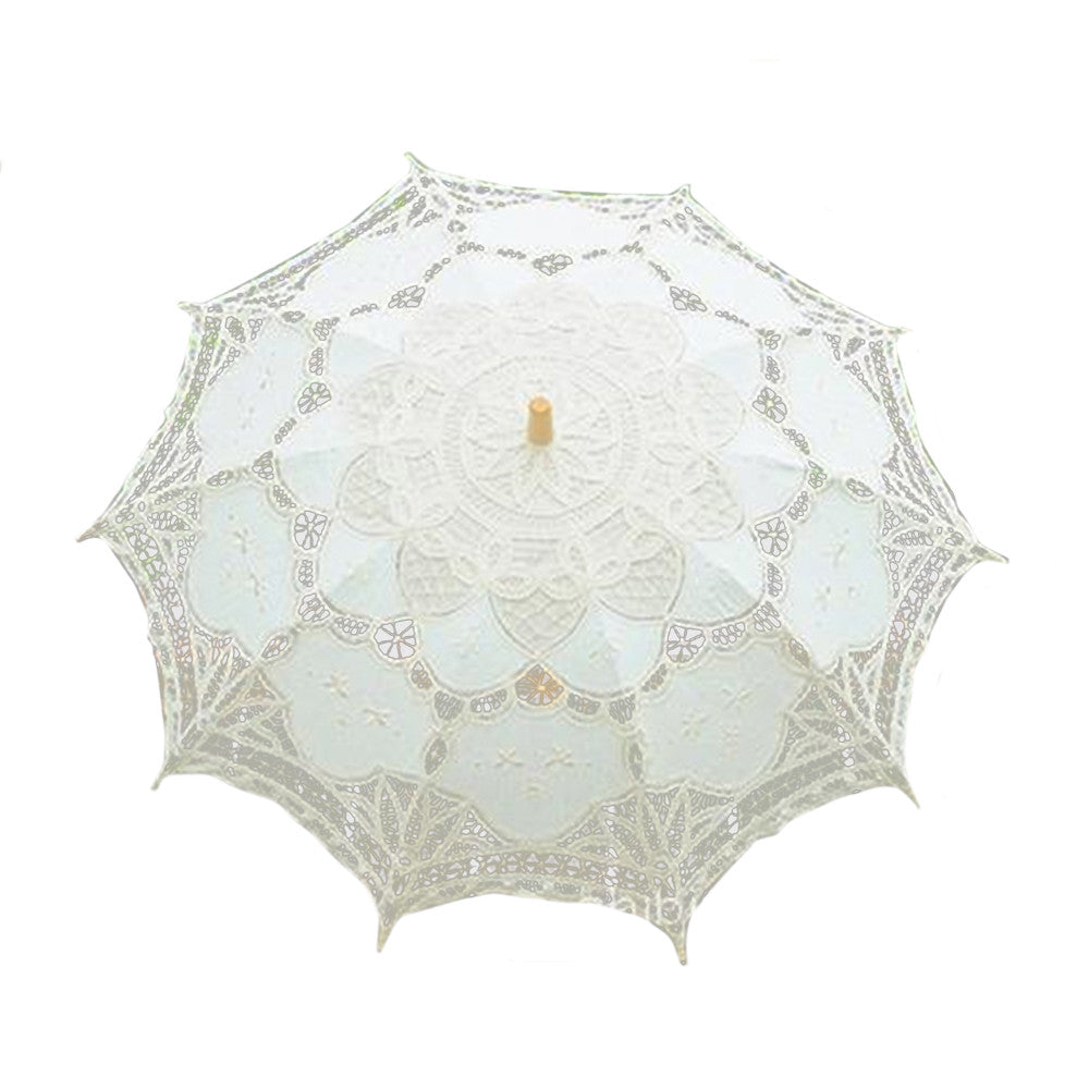 Handmade Cotton Craft Lace Macrame Children Umbrella Wedding Classical Photo   beige - Mega Save Wholesale & Retail