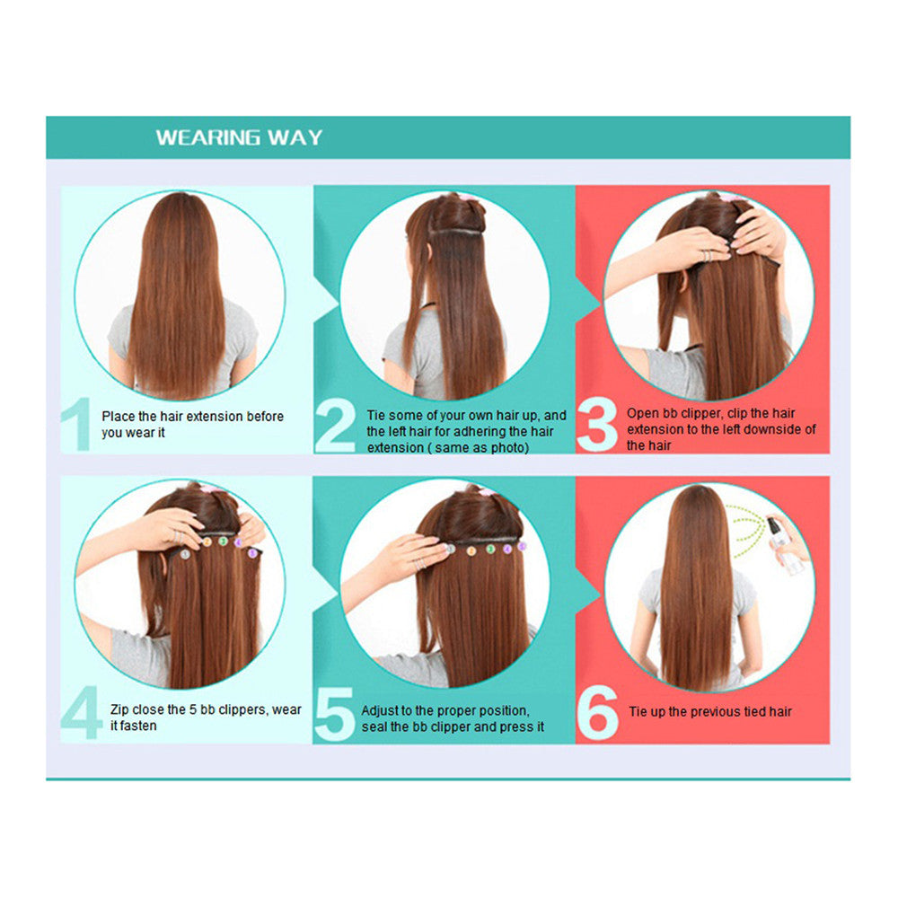 Yiwu's wig factory direct wholesale five piece long straight hair extension card issuing child wig hair piece explosion models in Europe and America   16H613 - Mega Save Wholesale & Retail - 3