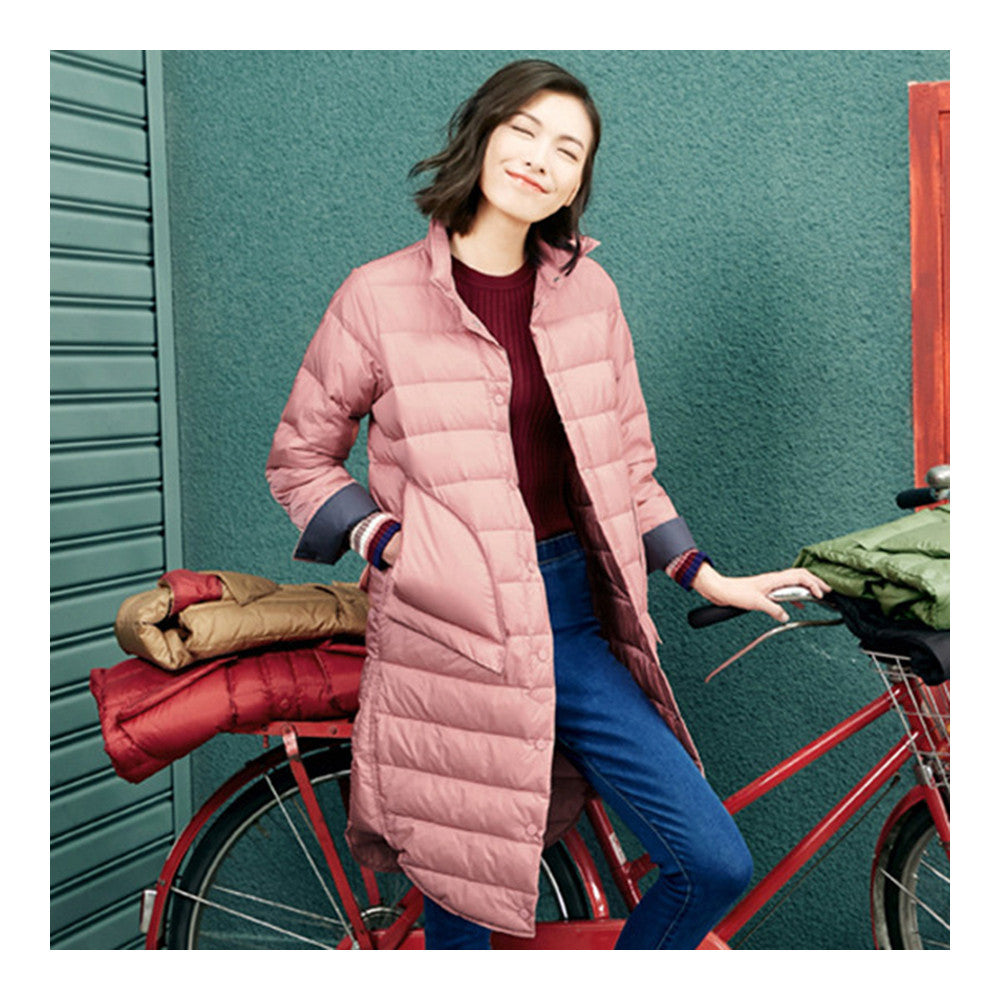 Middle Long Down Coat Woman Contrast Color Thin Light   pink   S - Mega Save Wholesale & Retail - 1