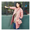 Middle Long Down Coat Woman Contrast Color Thin Light   pink   S - Mega Save Wholesale & Retail - 2