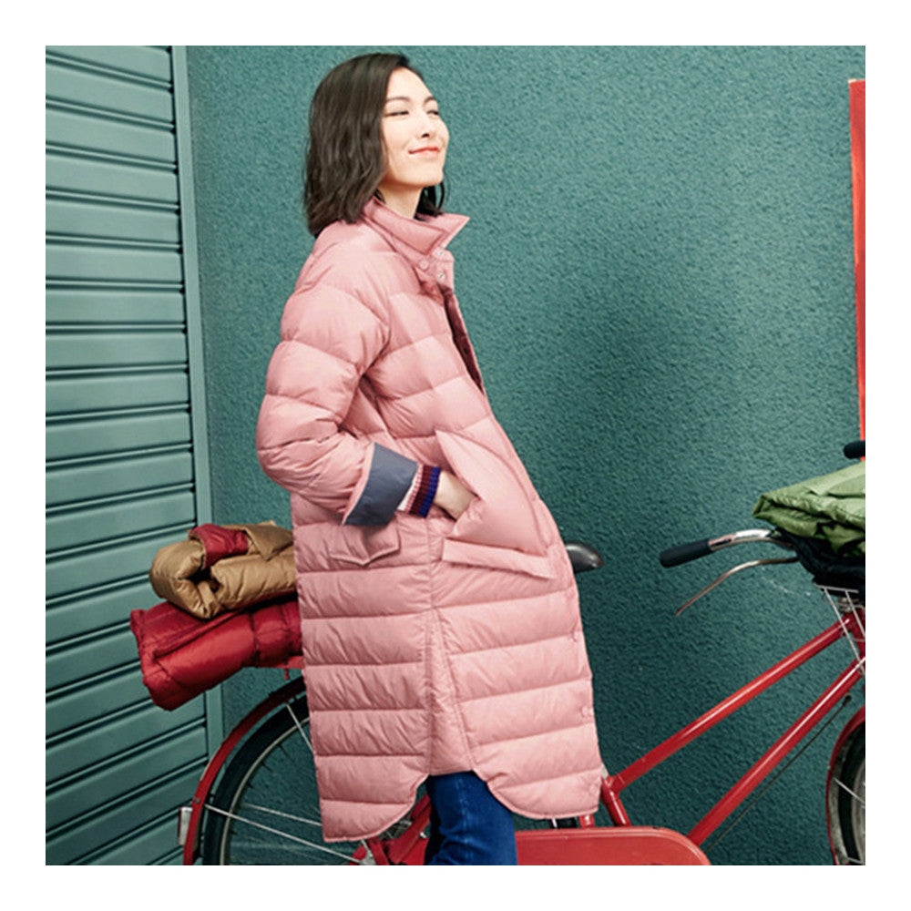 Middle Long Down Coat Woman Contrast Color Thin Light   pink   S - Mega Save Wholesale & Retail - 3