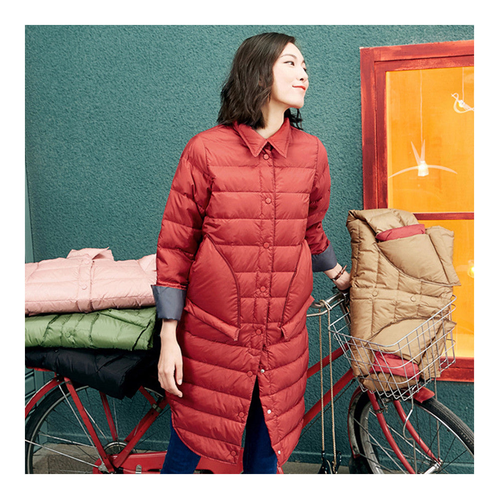 Middle Long Down Coat Woman Contrast Color Thin Light   rust red   S - Mega Save Wholesale & Retail - 1
