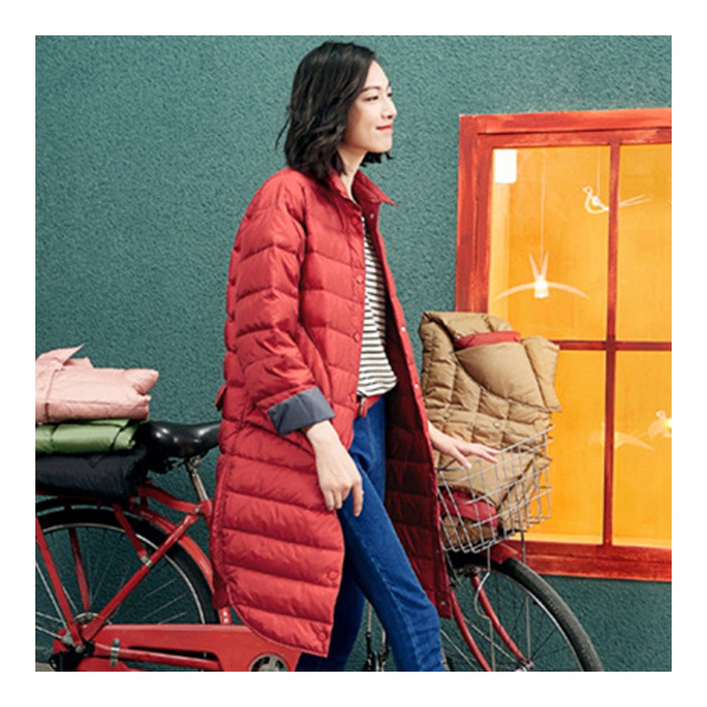 Middle Long Down Coat Woman Contrast Color Thin Light   rust red   S - Mega Save Wholesale & Retail - 2