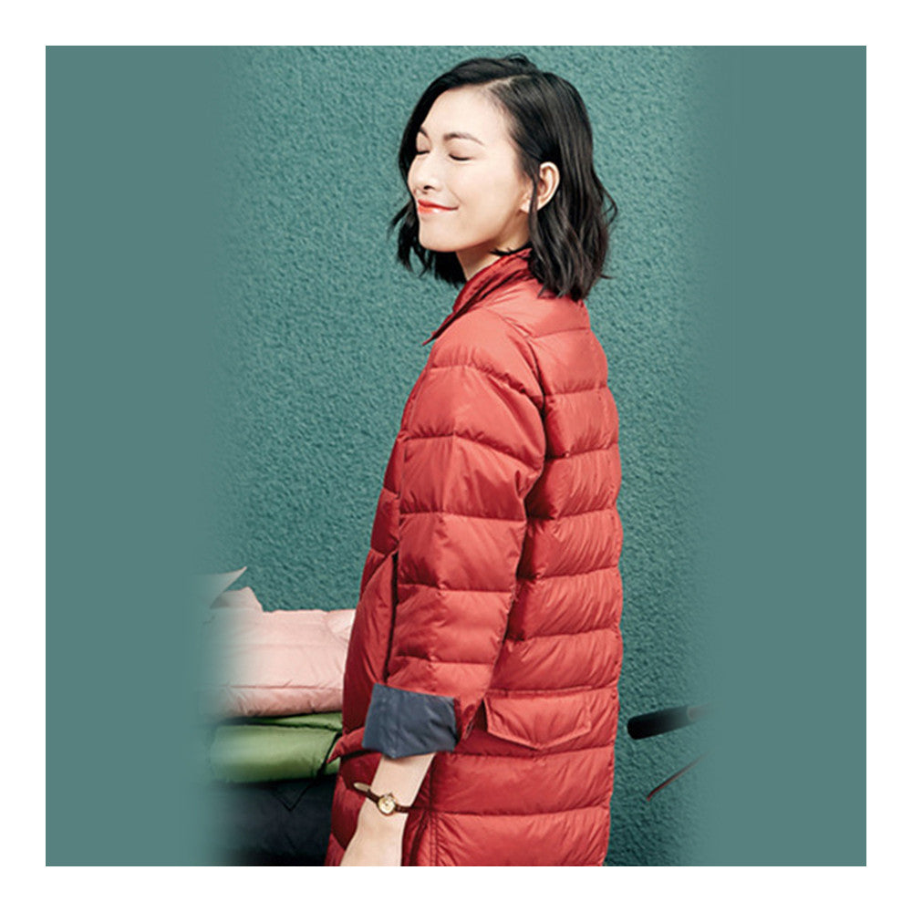 Middle Long Down Coat Woman Contrast Color Thin Light   rust red   S - Mega Save Wholesale & Retail - 3
