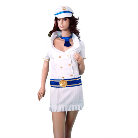 4 pcs Blue Aviator Uniform Fashionable Innocent Airline Stewardess Uniform Sexy Uniform  white - Mega Save Wholesale & Retail