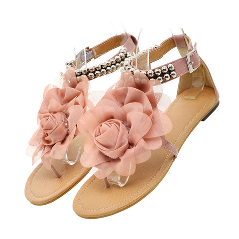 Flat Heel Flower Sandals Various Size Women Shoes   pink - Mega Save Wholesale & Retail - 1