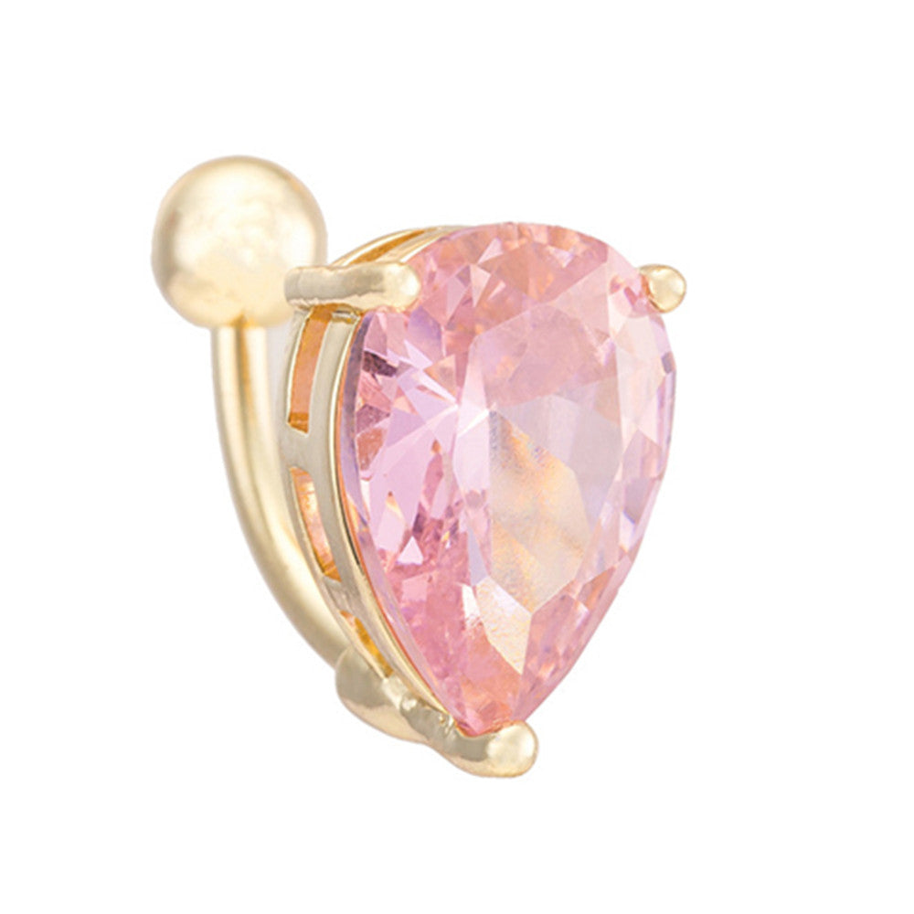 Body Puncture Ornament Water-drop Shape Navel Ring   gold plated pink zircon - Mega Save Wholesale & Retail