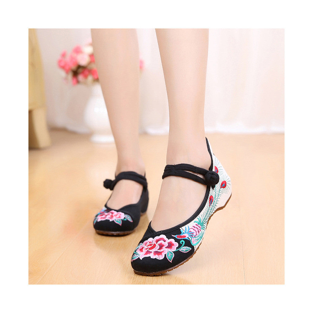Old Beijing Black Embroidered Dance Shoes for Women in Low Cut National Style with Beautiful Floral Designs & Ankle Straps - Mega Save Wholesale & Retail - 1