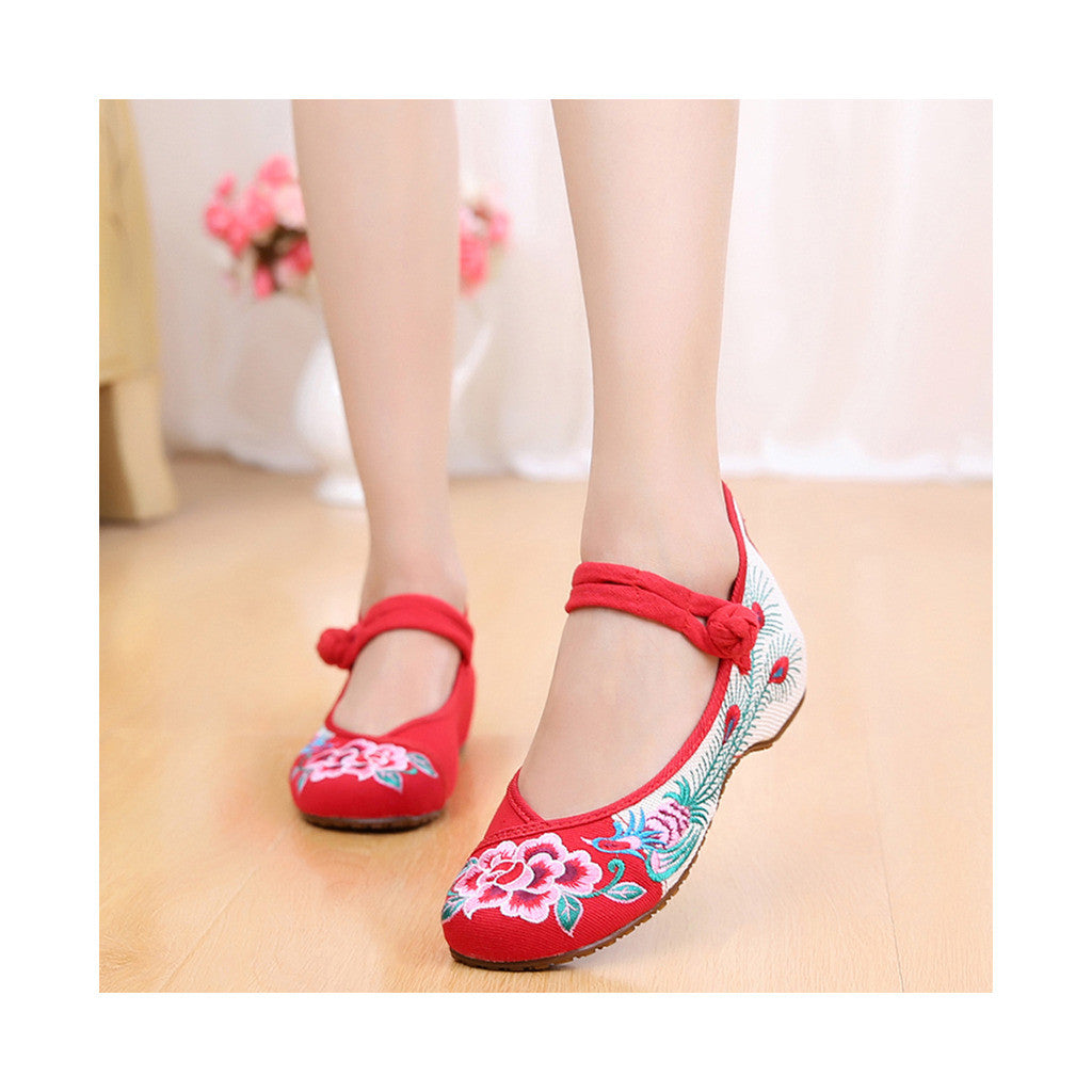 Old Beijing Red Cowhell Sole Peony Embroidered Shoes for Woman National Style with Beautiful Floral Designs with Ankle Straps - Mega Save Wholesale & Retail - 3