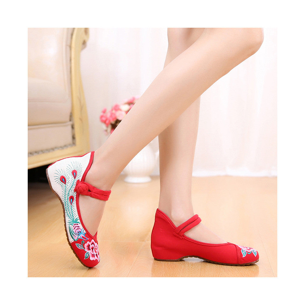 Old Beijing Red Cowhell Sole Peony Embroidered Shoes for Woman National Style with Beautiful Floral Designs with Ankle Straps - Mega Save Wholesale & Retail - 4