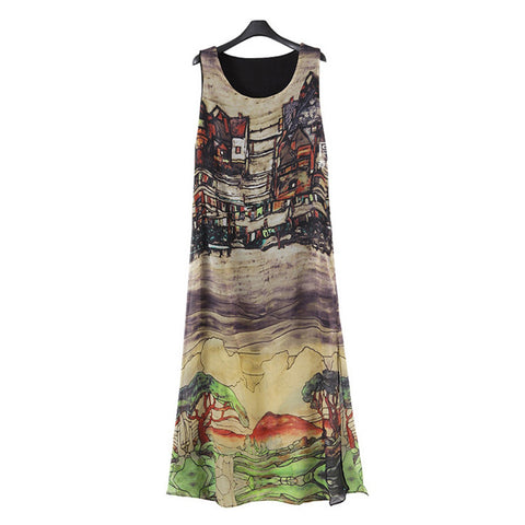 Plus Size Hand Painting Slim Chiffon Dress   L - Mega Save Wholesale & Retail - 1