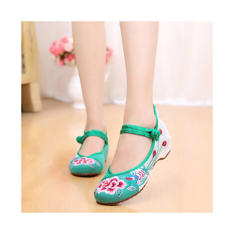 Old Beijing Cloth Shoes Low Cut Shoes Increased whitin National Style Cowhell Sole Peony Embroidered Dance Shoes green - Mega Save Wholesale & Retail - 1