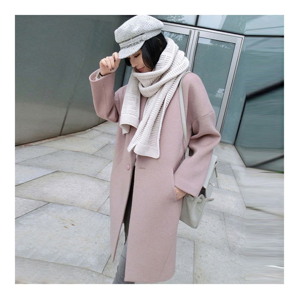 Solid Color Long Sleeve Coat Woman Middle Long    S - Mega Save Wholesale & Retail - 1