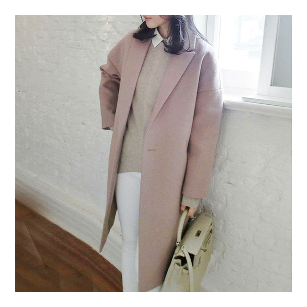 Solid Color Long Sleeve Coat Woman Middle Long    S - Mega Save Wholesale & Retail - 2