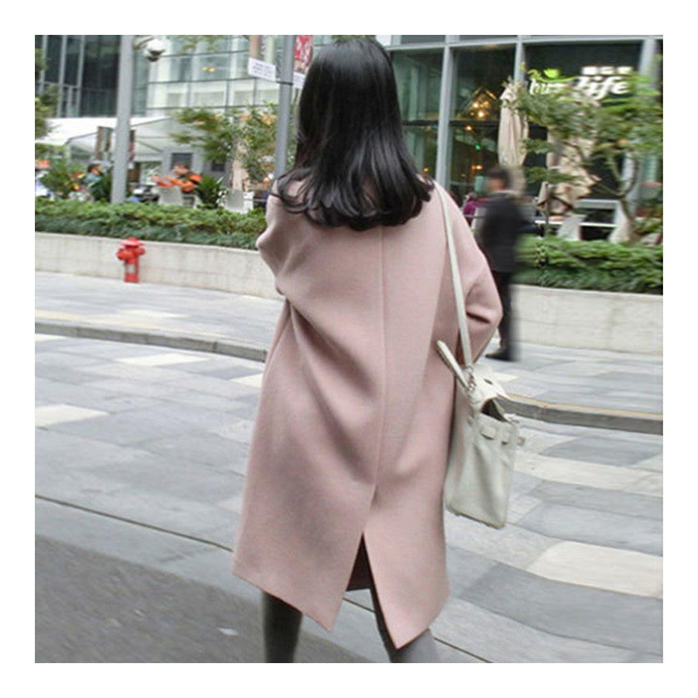 Solid Color Long Sleeve Coat Woman Middle Long    S - Mega Save Wholesale & Retail - 3