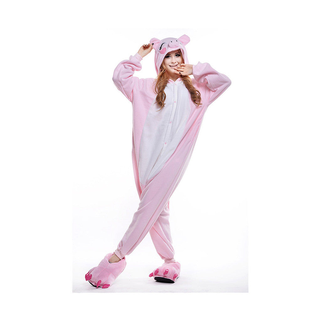 Unisex Adult Pajamas  Cosplay Costume Animal Onesie Sleepwear Suit  Pink Pig - Mega Save Wholesale & Retail