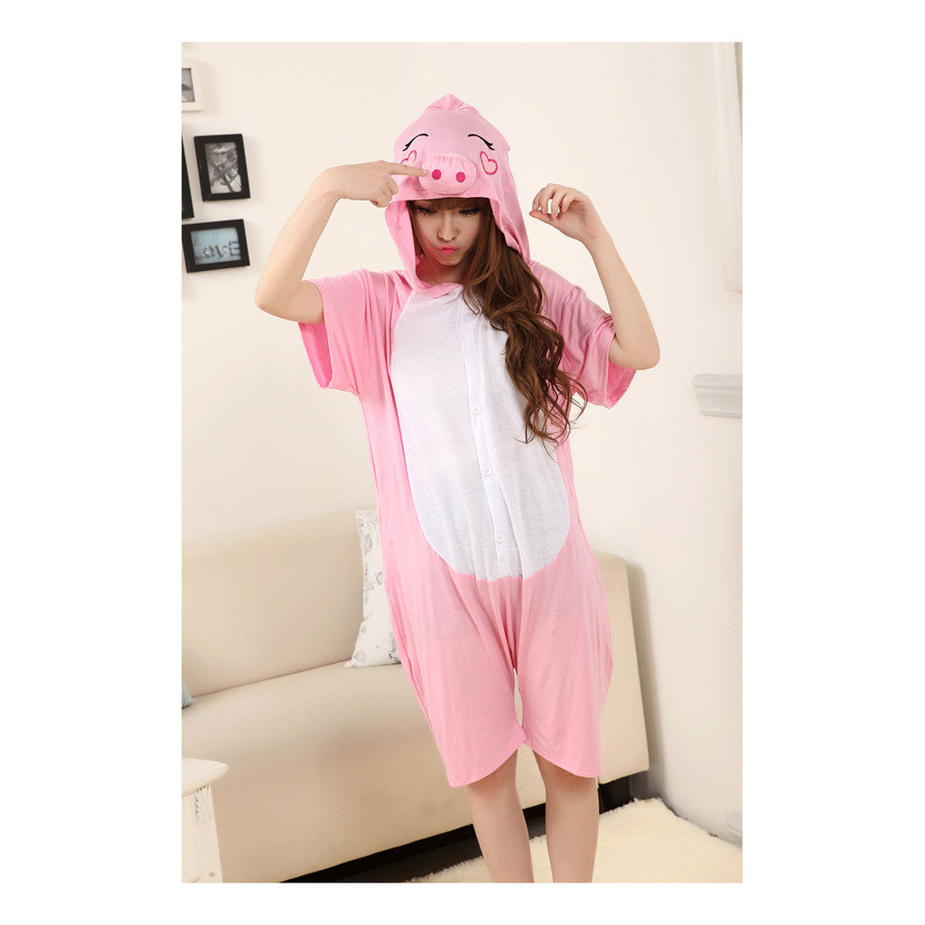 Unisex Adult Pajamas  Cosplay Costume Animal Onesie Sleepwear Suit Summer Pink Pig - Mega Save Wholesale & Retail