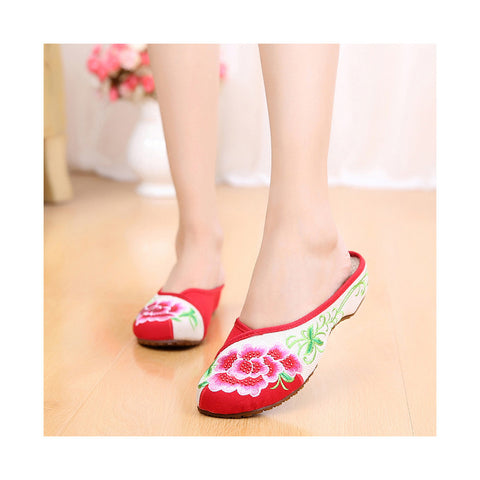 Summer Old Beijing Cloth Shoes Embroidered Shoes Slipsole Middle Heel Woman National Slippers red - Mega Save Wholesale & Retail - 1