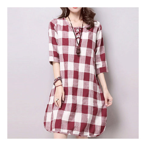 Plus Size Checks Plate Button Cotton&Flax Dress   red white   M - Mega Save Wholesale & Retail - 1