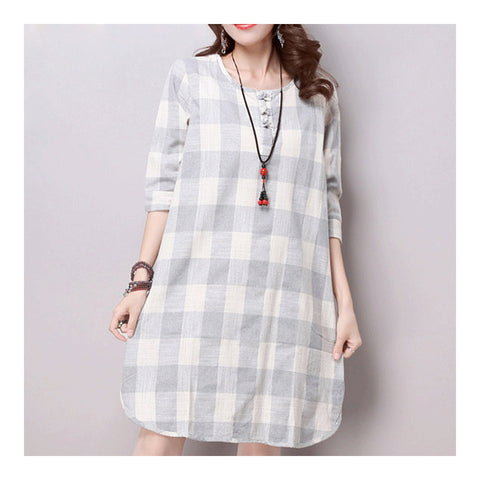 Plus Size Checks Plate Button Cotton&Flax Dress   grey white   M - Mega Save Wholesale & Retail - 1