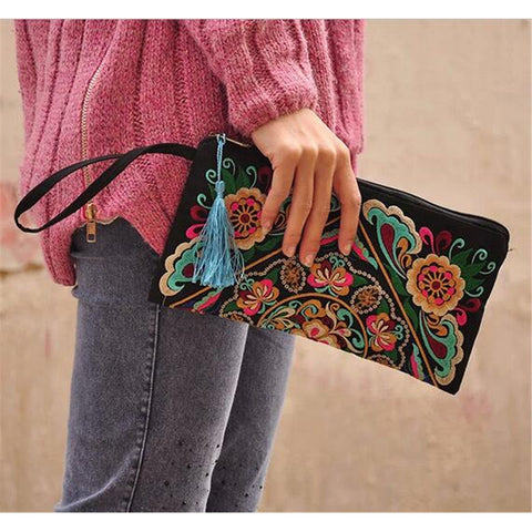 Fashioanble National Style Handbag Vintage Woman Embroidery Small Bag Coin Case   galsang flower - Mega Save Wholesale & Retail - 1