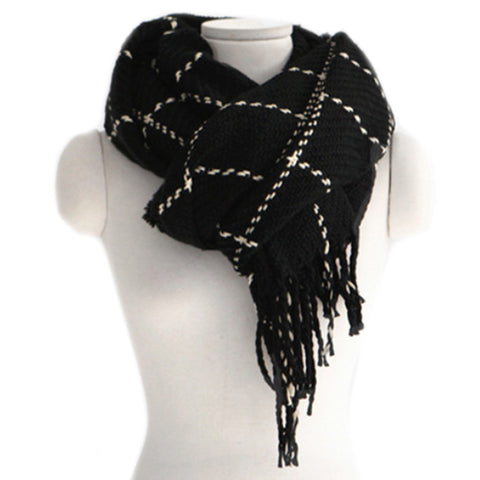 Checks Scarf Tassel Tippet Neckerchief   black - Mega Save Wholesale & Retail