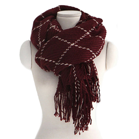 Checks Scarf Tassel Tippet Neckerchief   wine red - Mega Save Wholesale & Retail