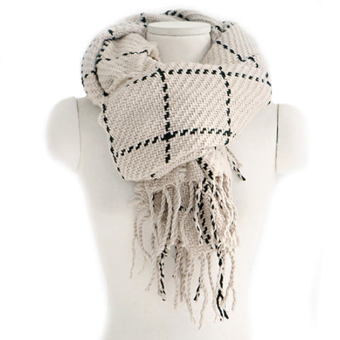 Checks Scarf Tassel Tippet Neckerchief   beige - Mega Save Wholesale & Retail