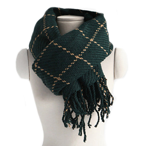 Checks Scarf Tassel Tippet Neckerchief   dark green - Mega Save Wholesale & Retail