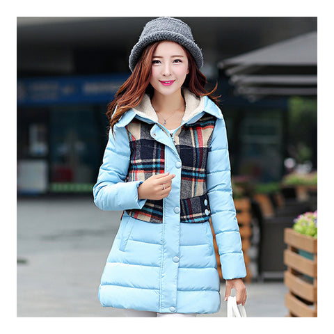 Cotton Coat Down Coat Middle Long Loose   baby blue  M - Mega Save Wholesale & Retail - 1