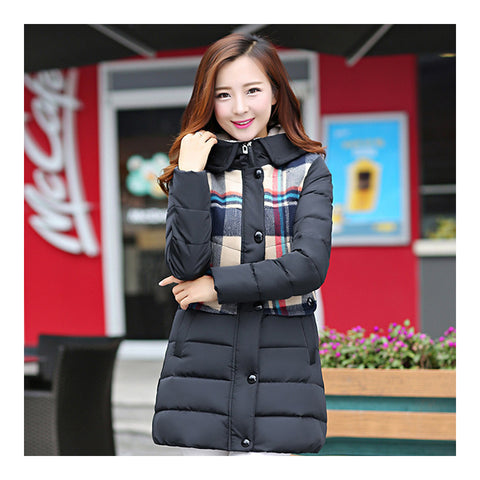 Cotton Coat Down Coat Middle Long Loose   black   M - Mega Save Wholesale & Retail - 1