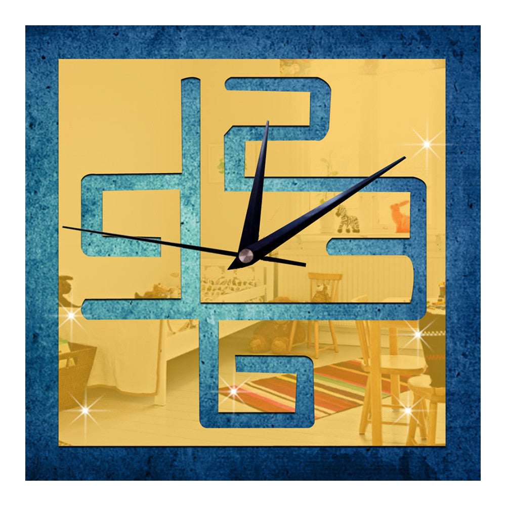 Living Room Wall Clock Decoration Digit Mirror Sticking   golden - Mega Save Wholesale & Retail