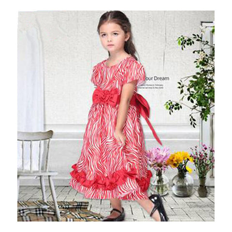 Children Bowknot Girl Costume Red Princess Skirt Dancing Dress - Mega Save Wholesale & Retail