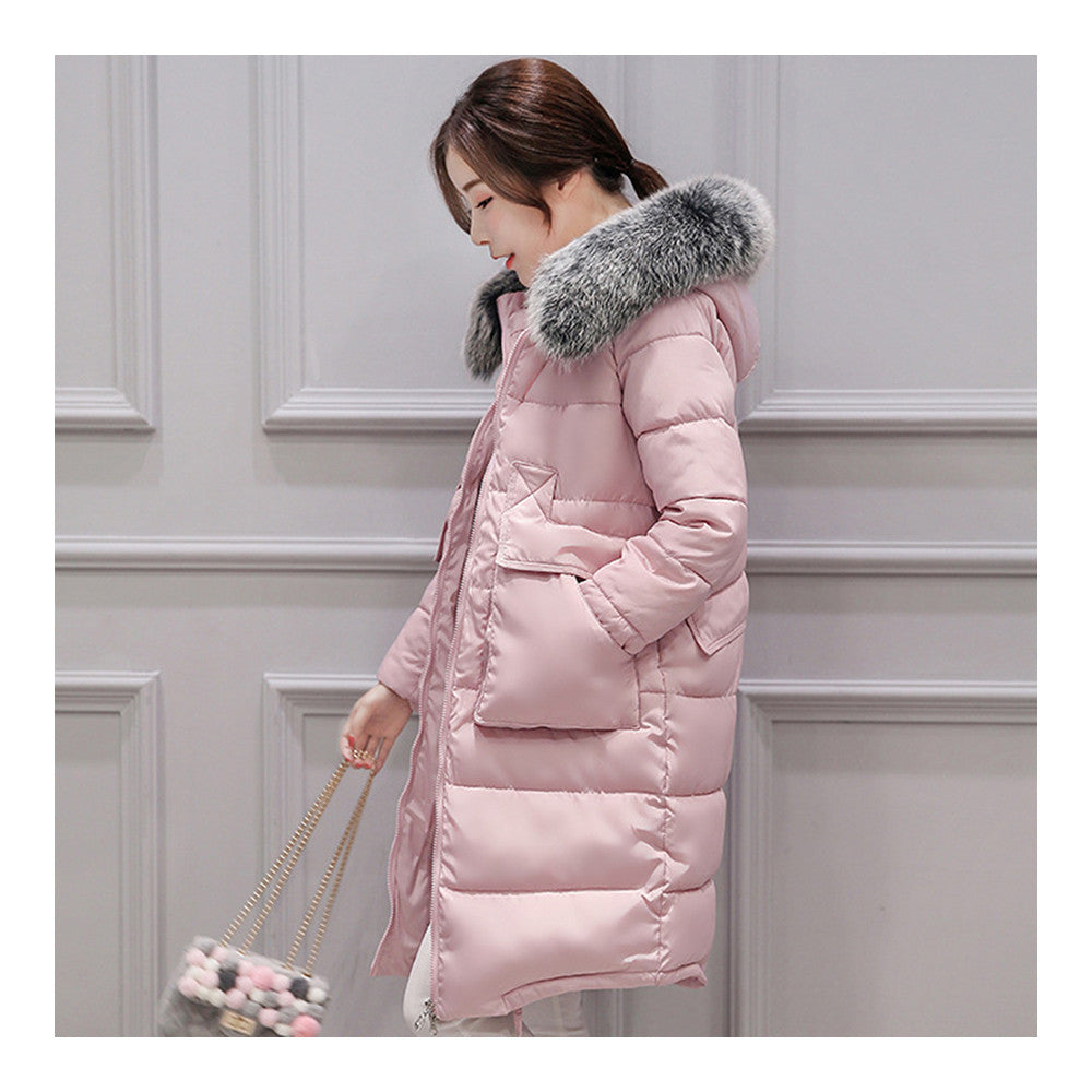 Winter Woman Down Coat Slim Middle Long Thick Fox Fur    pink   M - Mega Save Wholesale & Retail - 1