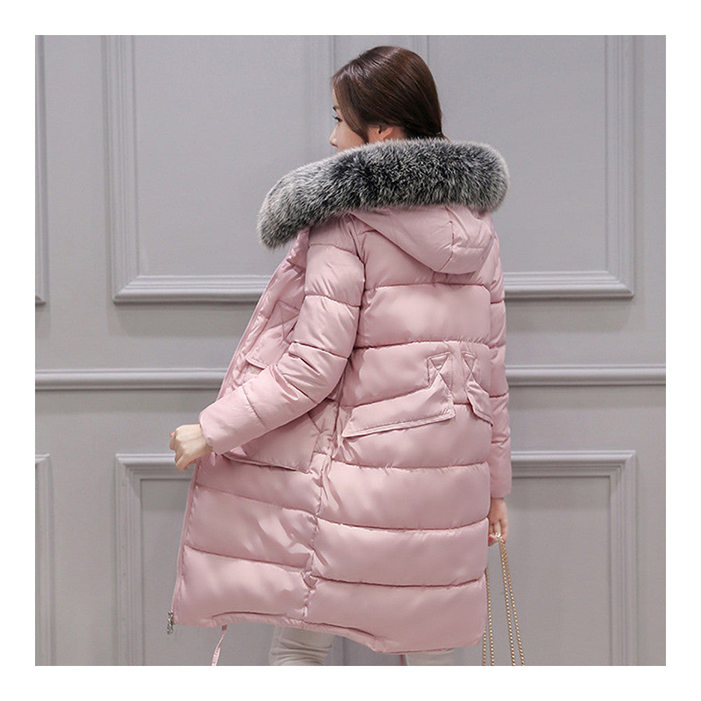 Winter Woman Down Coat Slim Middle Long Thick Fox Fur    pink   M - Mega Save Wholesale & Retail - 2