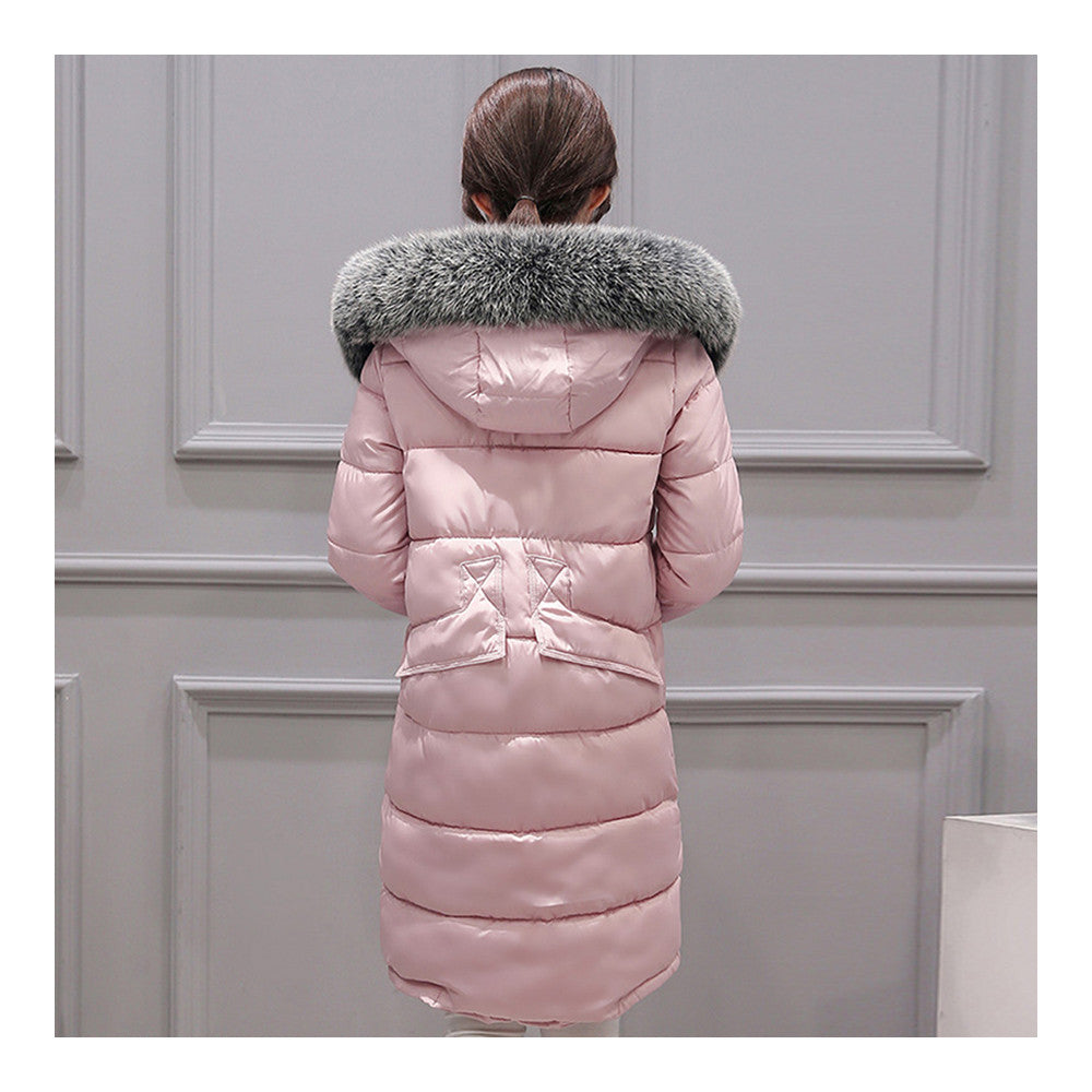 Winter Woman Down Coat Slim Middle Long Thick Fox Fur    pink   M - Mega Save Wholesale & Retail - 3