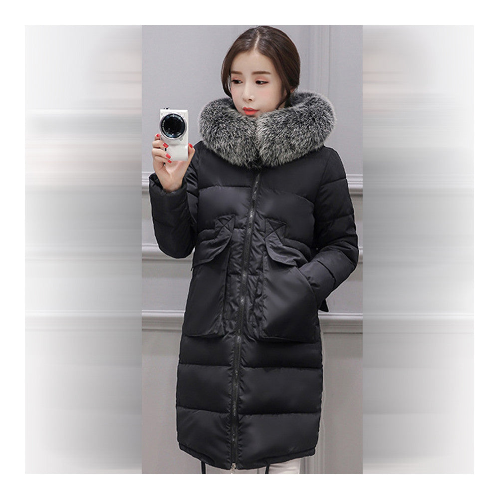 Winter Woman Down Coat Slim Middle Long Thick Fox Fur   black    M - Mega Save Wholesale & Retail - 1