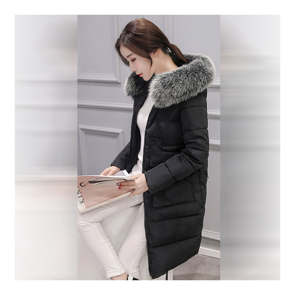 Winter Woman Down Coat Slim Middle Long Thick Fox Fur   black    M - Mega Save Wholesale & Retail - 2