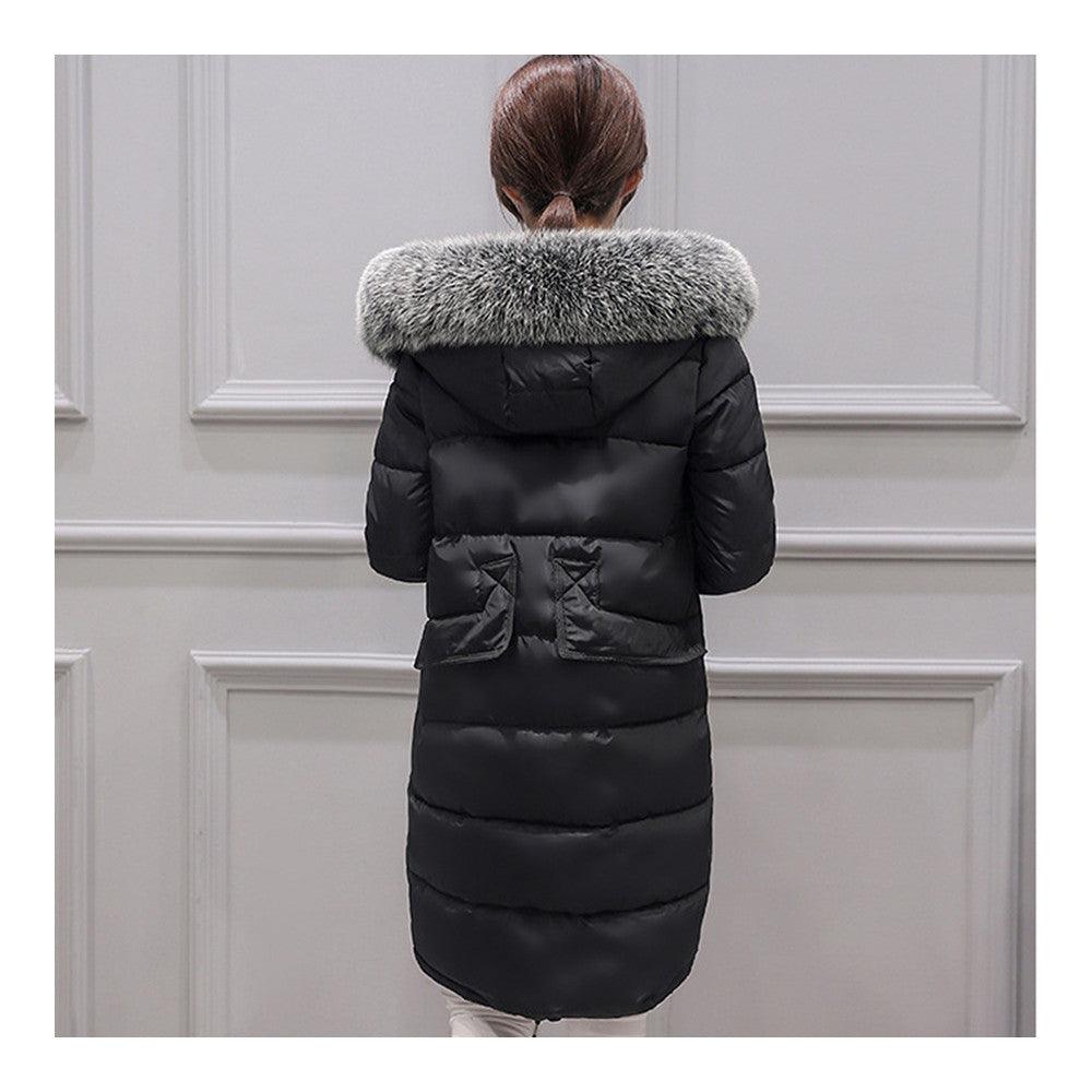 Winter Woman Down Coat Slim Middle Long Thick Fox Fur   black    M - Mega Save Wholesale & Retail - 3
