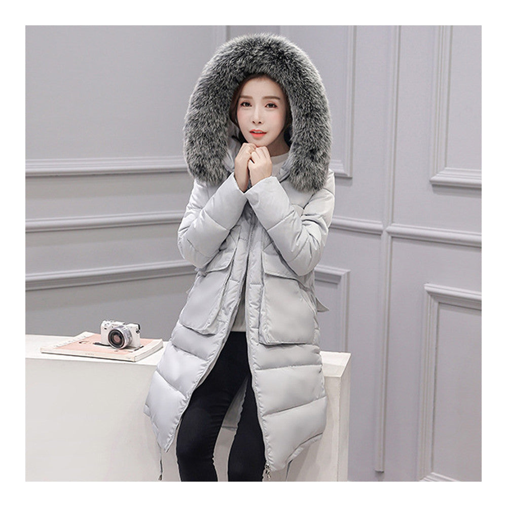 Winter Woman Down Coat Slim Middle Long Thick Fox Fur   grey   M - Mega Save Wholesale & Retail - 1