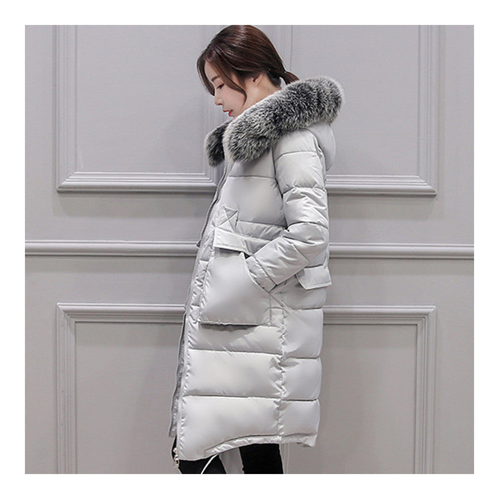 Winter Woman Down Coat Slim Middle Long Thick Fox Fur   grey   M - Mega Save Wholesale & Retail - 2