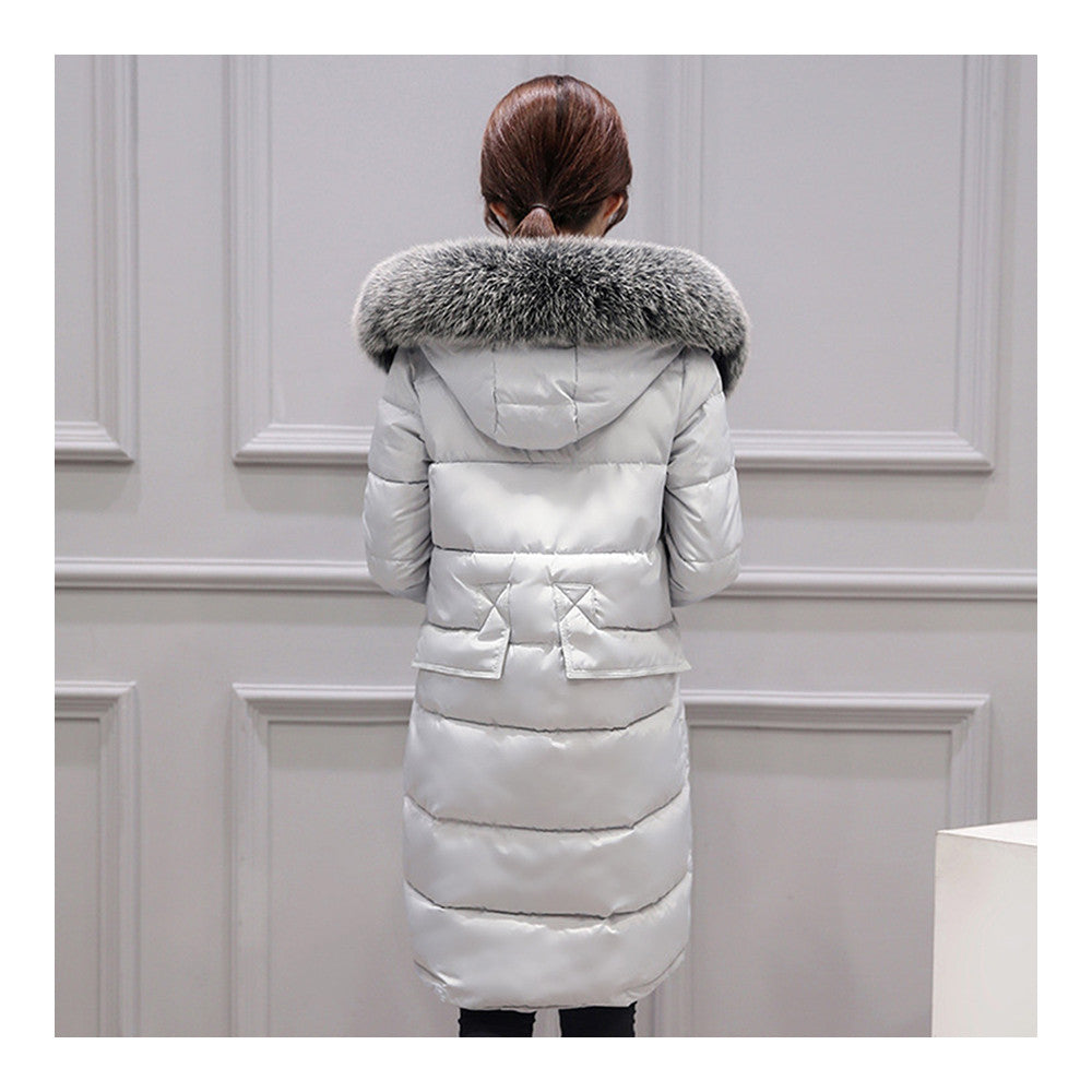 Winter Woman Down Coat Slim Middle Long Thick Fox Fur   grey   M - Mega Save Wholesale & Retail - 3