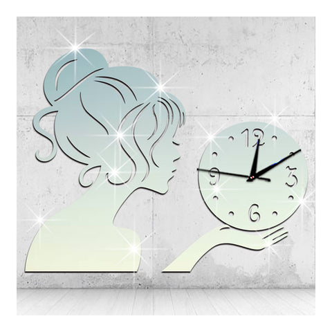 Wall Clock Creative Living Room Mirror Girl Sticking   silver - Mega Save Wholesale & Retail