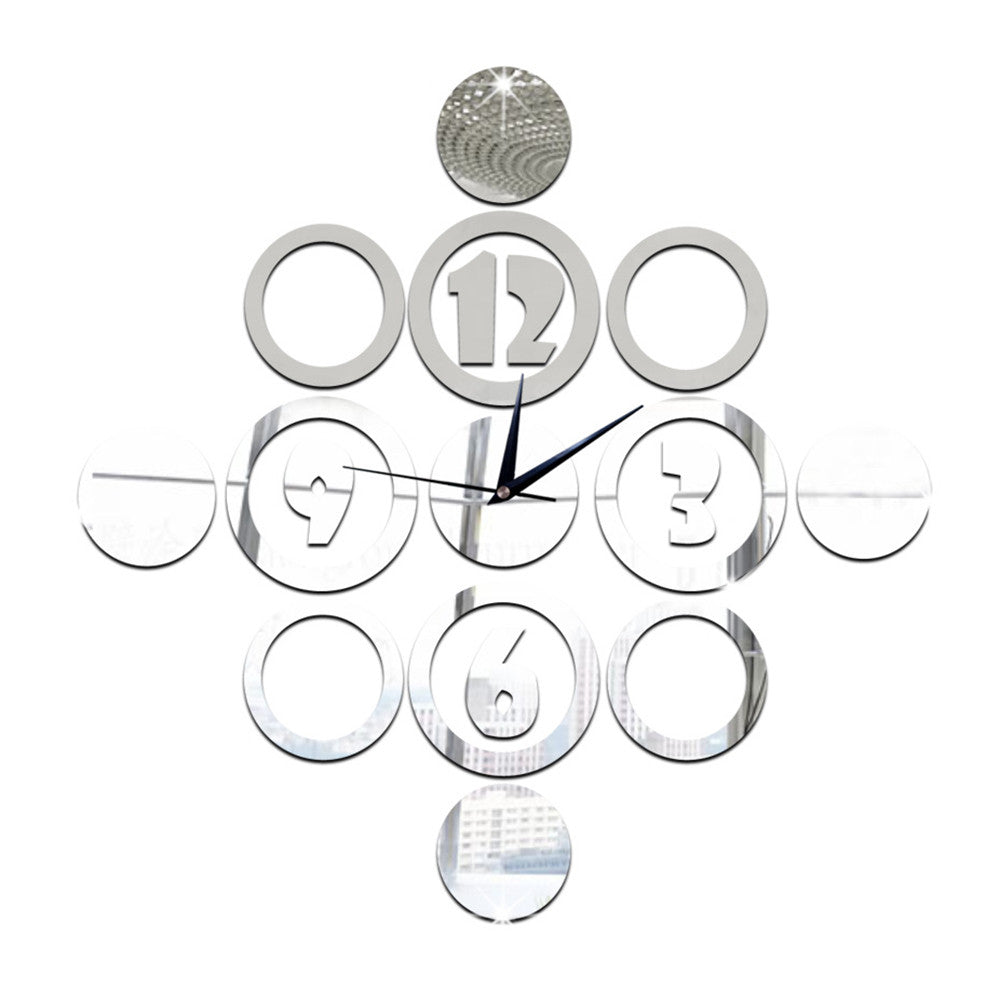 Living Room Silent Wall Clock DIY Digit Circle Sticking   silver - Mega Save Wholesale & Retail