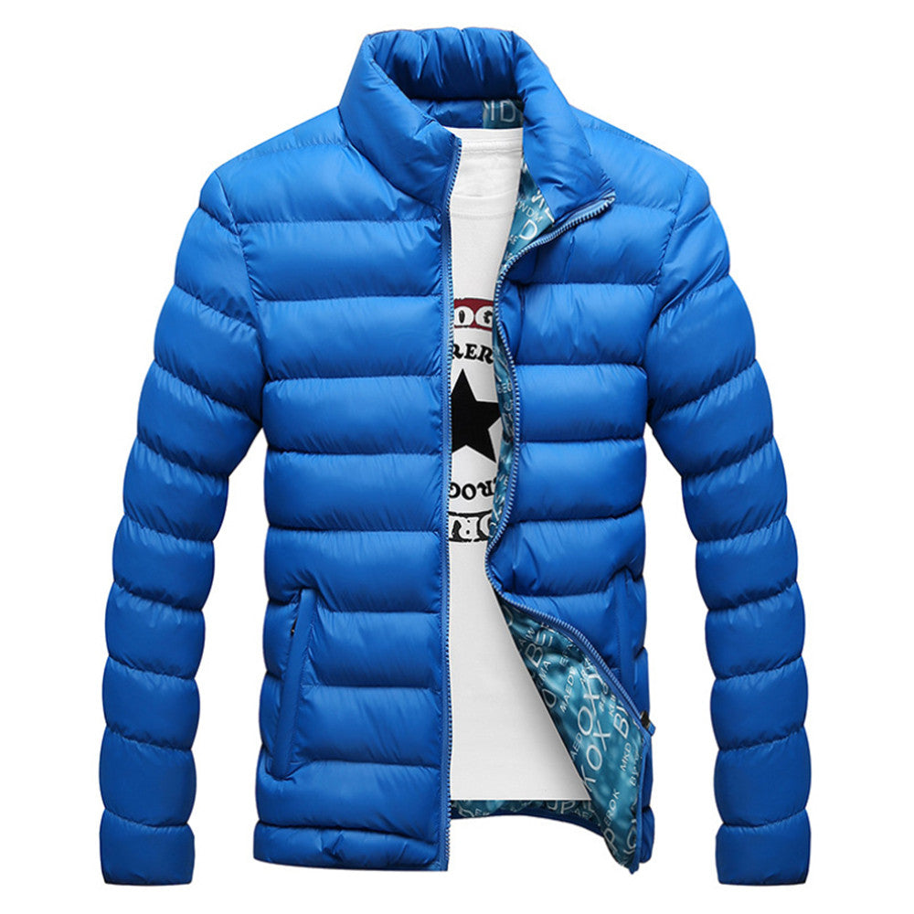 Man Down Coat Slim Warm Cotton Coat   colorful blue   M - Mega Save Wholesale & Retail - 1