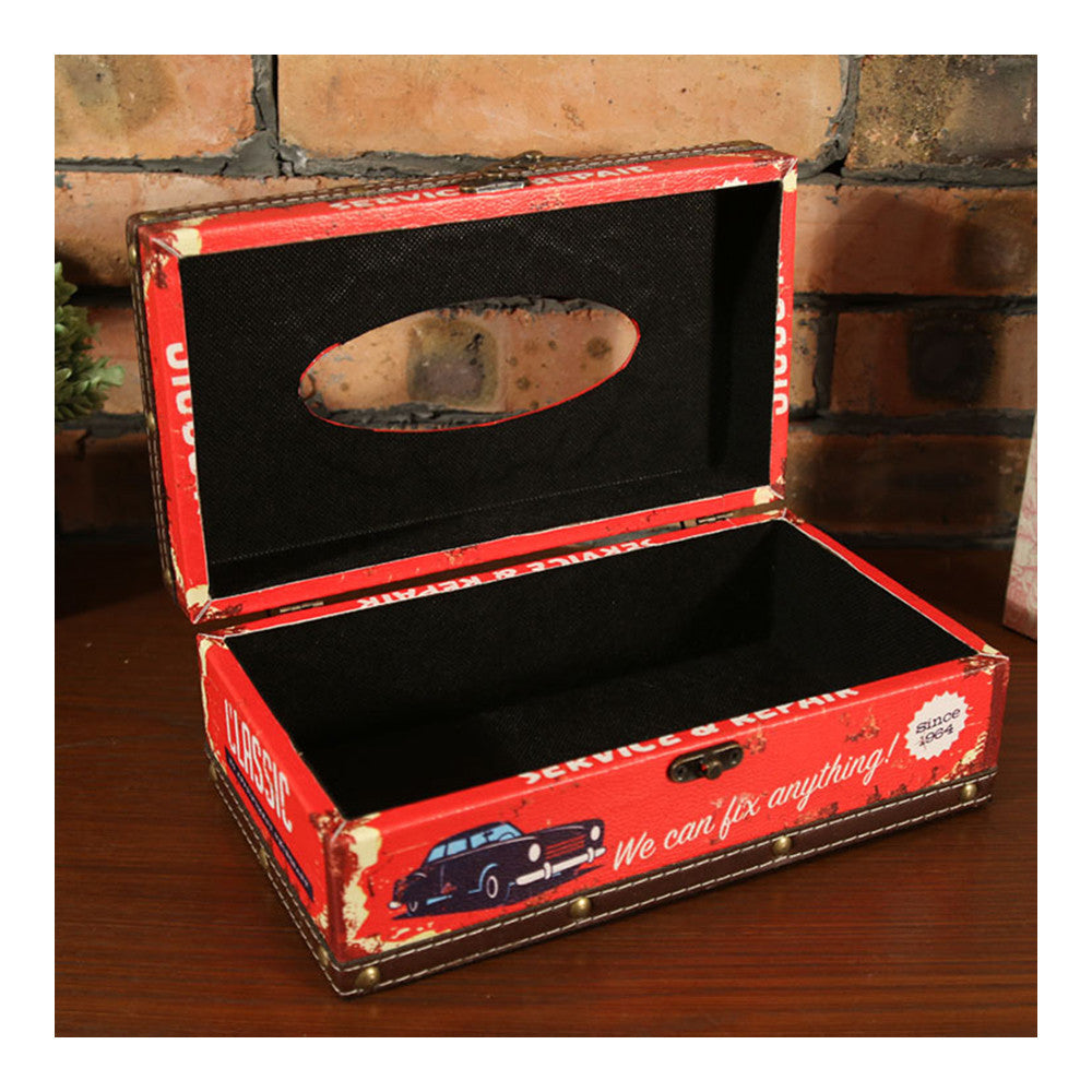 zakka England Vintage PU Leather Tissue Box   ZJH-3red - Mega Save Wholesale & Retail - 4
