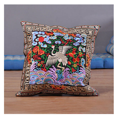 Festival Gift Original Embroidery Cushion Cover National Style Inn Hotel Embroidery Boster Case   red-crowned crane - Mega Save Wholesale & Retail - 1
