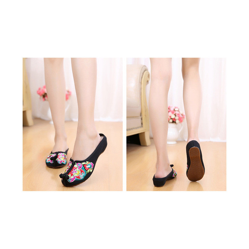 Old Beijing Black Summer Sandals for Women in National Style & Beautiful Embroidery Patterns - Mega Save Wholesale & Retail - 4